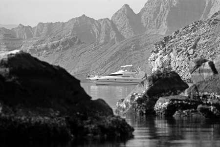 musandam: A Yacht Anchored In The Peninsula Of Musandam