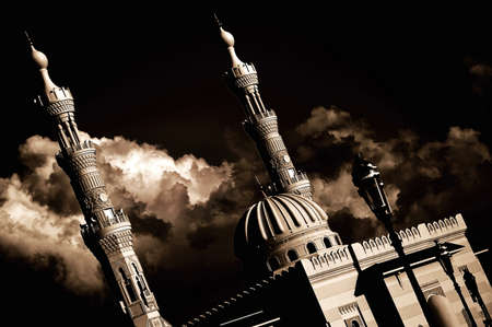 rainclouds: An Arabic Mosque in the city of Sharjah Stock Photo