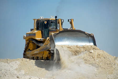 Track Type Tractor Moving Earth Stock Photo