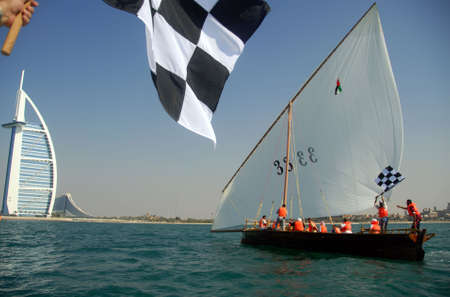 Sailing Dhow Crosses The Finish Line