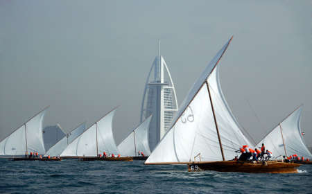 Dhows Sailing Across Burj Al Arab