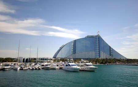 Yachts Docked At The Marina Of Jumeirah Beach Hotel