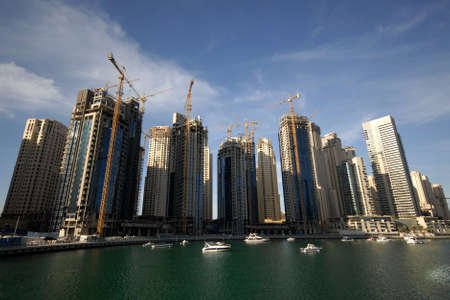 Fast Paced Construction Of Waterfront Buildings In Dubai Stock Photo