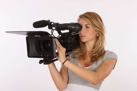 camcorder: Model Using A Professional Video Camera