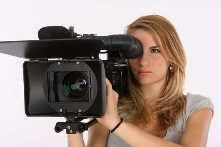 viewfinder: Model Using A Professional Video Camera