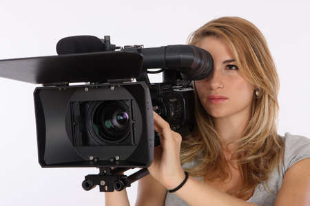 film shooting: Beautiful Blond Girl Filming In A Studio