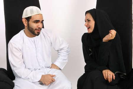 Husband Full Of Arabian Humor Stock Photo