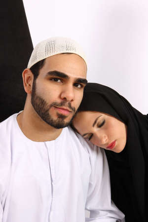 Tired Arab Couple In A Transit Situation