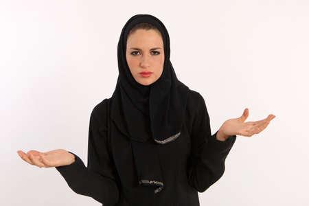 fille arabe: Ayant du mal � comprendre Banque d'images