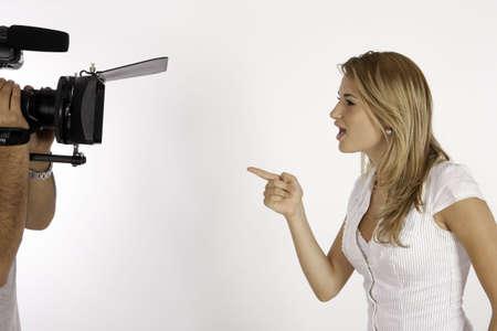 Talking To The Camera Stock Photo
