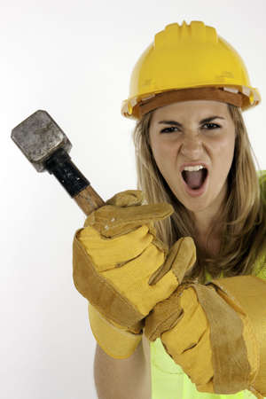 Angry Construction Girl About To Strike Stock Photo