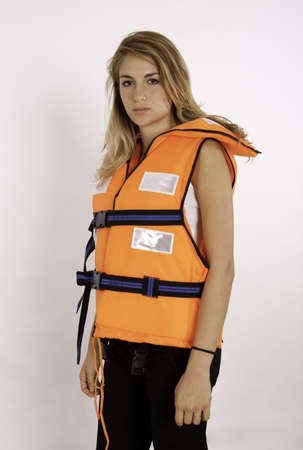 Girl Wearing A Life Jacket Stock Photo