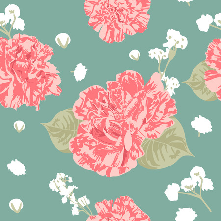 Using sweet and modern-vintage color choice, Sweet Carnation Flower Seamless Pattern perfects you who love vintage, shabby chic, and sweet merchandises.