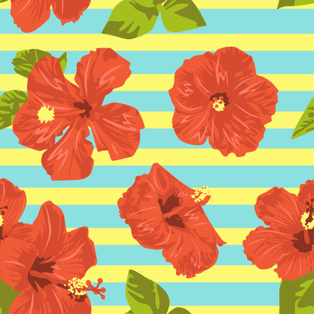 This illustration inspired by summer season and adding fresh red hibiscus for hawaiian touch. Using vibrant colors for representing fresh, playful, and happy summer athmosphere.