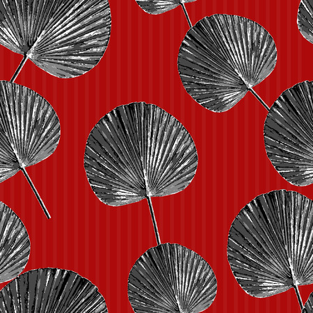 This is the third series of pop tropical Leaves  seamless pattern on red background.