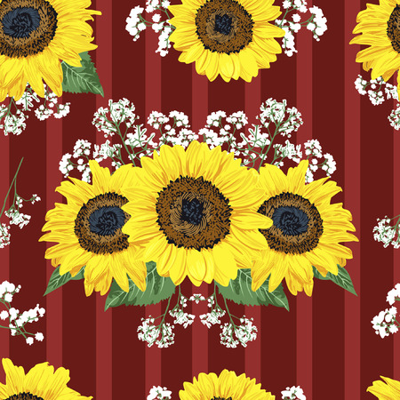 The sunflower reflects the happiness of summer season. With red striped backgrounds, it creates modern-retro style of the images.