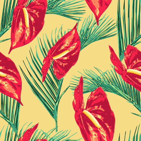 This is the fifth series of Pop tropical leaves pattern. Palm leaves illustration with bold colors, looks fresh, fun, and vibrant products suitable with summer-holiday theme.
