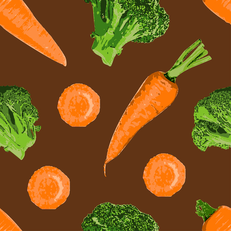The carrot broccoli seamless pattern is perfect choice for you who looking for food or vegetable pattern for your merchandise design. This vector illustration of carrot and broccoli.