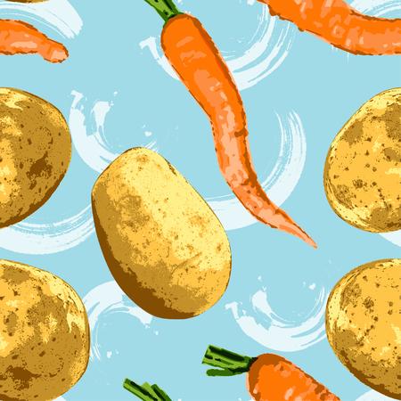 Wortel en aardappel patroon. Stock Illustratie