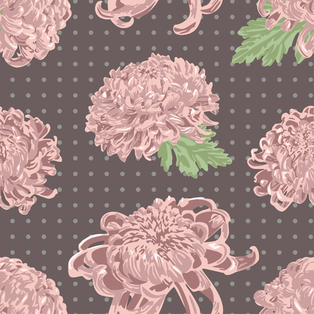 Beautiful soft pink chrysanthemum pattern. Ilustrace