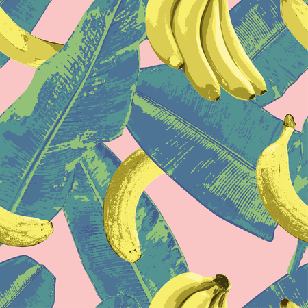 Banana leaves with some bananas illustration. You can use this pattern for completing summer or tropical theme merchandises. The pattern is using bright colors to show the cheerfulness or summer season or tropical place.