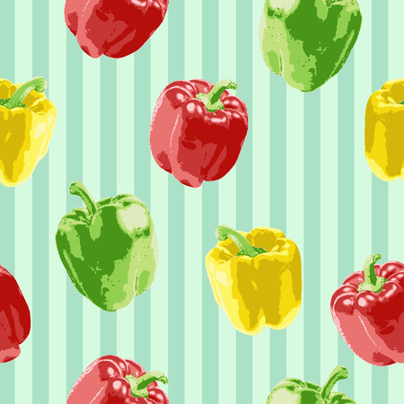 The bell peppers pattern illustration perfects for completing food theme design, for food flyer, food brochure, food packaging, and many more. Иллюстрация