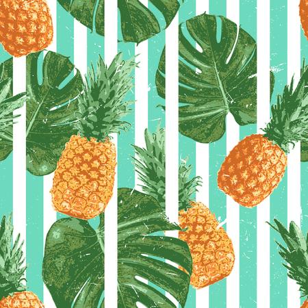ビンテージ トロピカル パイナップルのシームレスなパターンは、新鮮さと夏のシーズンの幸福を示すための明るく鮮やかな色の選択を使用していま