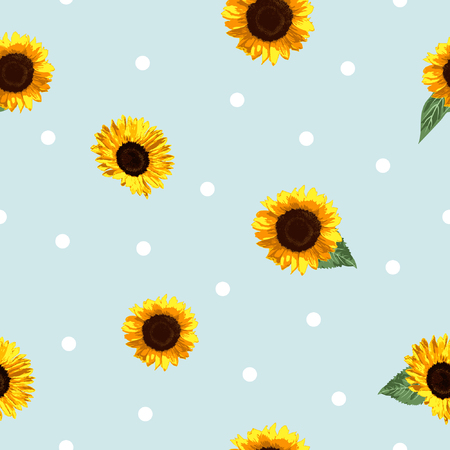 The modern sunflower vector pattern is using minimalist design style, it represent cute, modern, clean design for summer style design.