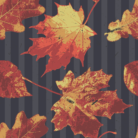 The autumn leaves pattern with striped dark blue background, elegant yet beautiful pattern for your autumn related merchandises. Ilustrace