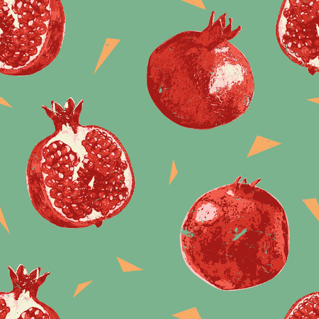 The pomegranate fruit vector seamless pattern is minimalist style seamless pattern with gritty touch texture for giving retro looks for the pattern. Its modern, clean, and retro style pattern.