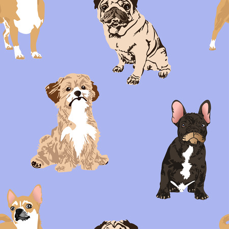 Cute four kinds of small dogs vector illustration seamless pattern, chihuahua, pug, and french bulldog.