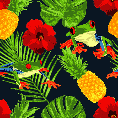 The tropical red eyed tree frog represent the red eyed tree frog with tropical-themed illustration objects; pineapple, hibiscus, and tropical leaves. Perfects for summer theme or tropical theme merchandises.