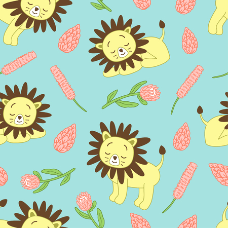 Cute lions pattern represent cute wildlife lions pattern and decorating with wild african plants.