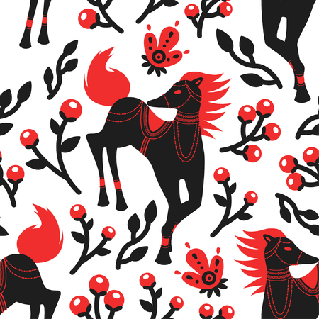 The Folk Art Horses Vector Seamless Pattern is inspired by Europe folk-art style with modern touch, representing the horses in the deep forest of Europe.