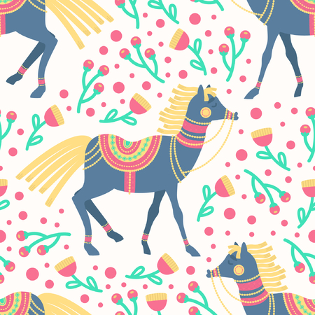 Spring Floral Horses Vector Seamless Pattern represents the freshness of spring season, the horses decorated with ethnic accessories on flowers field. It's cute design, suitable for baby or kids products.