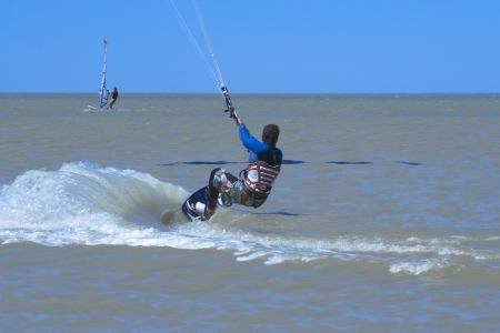 azov: Kite-surfing in the Taganrog Bay of the Azov Sea Stock Photo