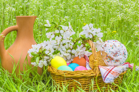 painted eggs: Wicker basket with painted eggs, Easter cakes, a clay jug and flowering branch cherry in the spring garden on the green grass