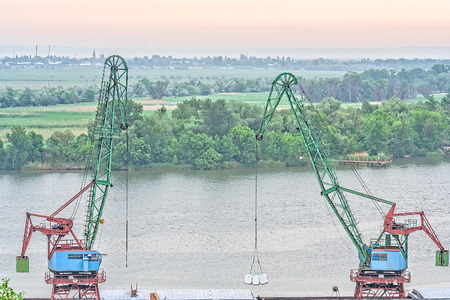 tree works: Loading works in the port on the background of the river and picturesque landscape at sunrise