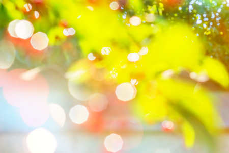 Abstract blurred summer background with white, green, yellow and red spots of foliage and berries in the garden 写真素材