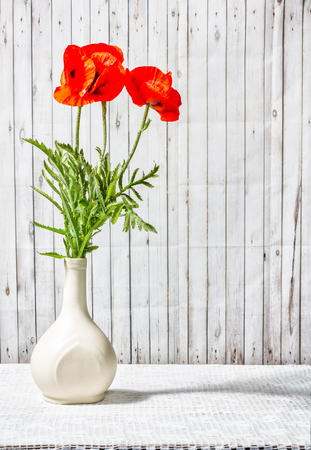 Bouquet of Oriental poppy flowers in a white ceramic vase on a table with a lace tablecloth on a background of old boards Stok Fotoğraf