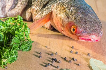Fresh raw fish of red-finned mullet for cooking with parsley and spices on wooden background, macro Reklamní fotografie
