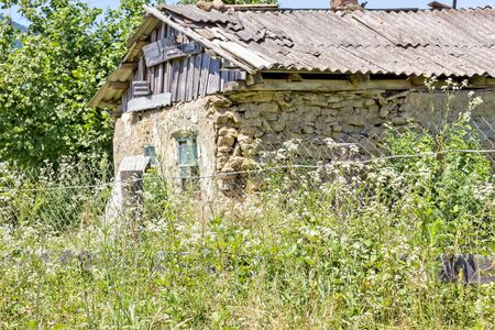 Dilapidated rural house in the thickets of weeds, close-up