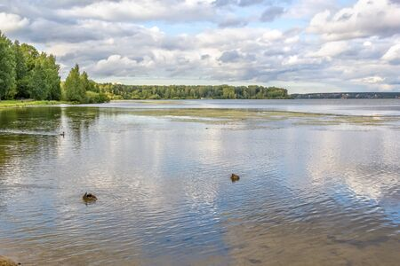 Picturesque view of Lake Shartash in Yekaterinburg on a summer day, Russia