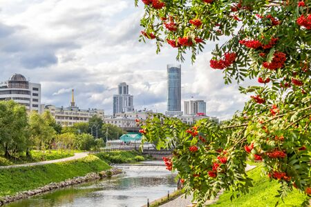 Scenic city landscape with rowan and embankment of the Iset River, Yekaterinburg, Russia