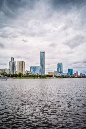 View from the embankment of the city pond of Yekaterinburg on the downtown, Russia