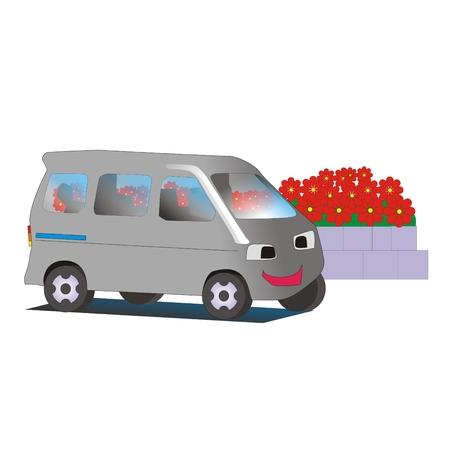 minivan: funny cartoon minivan at the bus stop near the flowerbed