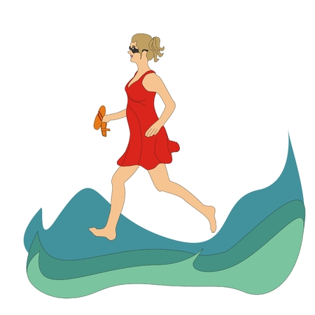 beach side: Girl wearing a red dress running on the waves of the sea Stock Photo