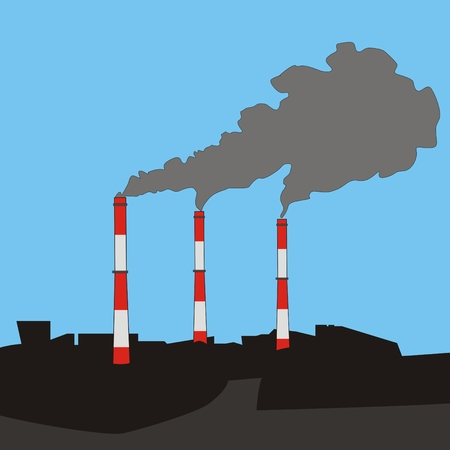 thermal power plant: urban landscape with three flue gas stacks air pollution at sky background