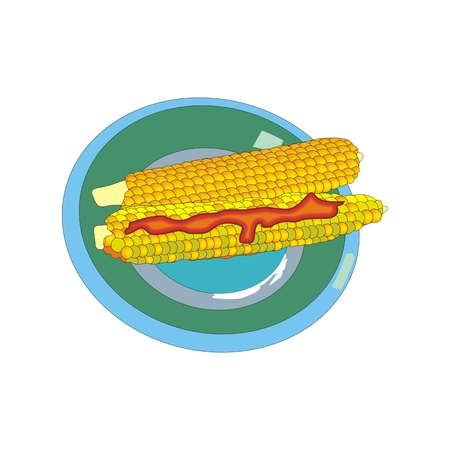chili sauce: corn on the cob with chili sauce on a round plate