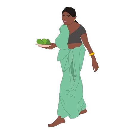 sari: married woman wearing a green sari with a plate of avocado in her hands
